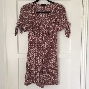 Express Polka Dot Button Front Tie Dress Small